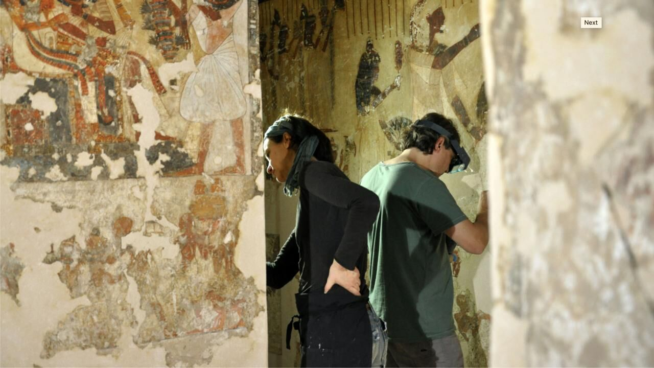 Laser cleaning of Ancient Egyptian Wall Paintings in the Tomb of Neferhotep TT49