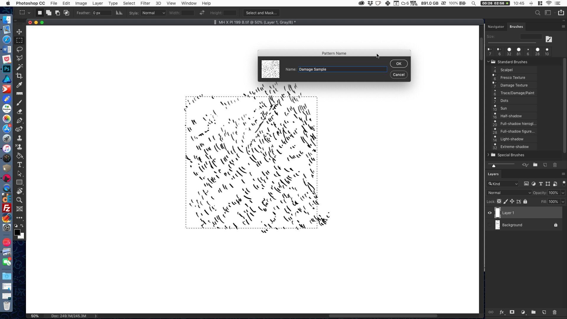 Creating a digital damage pattern