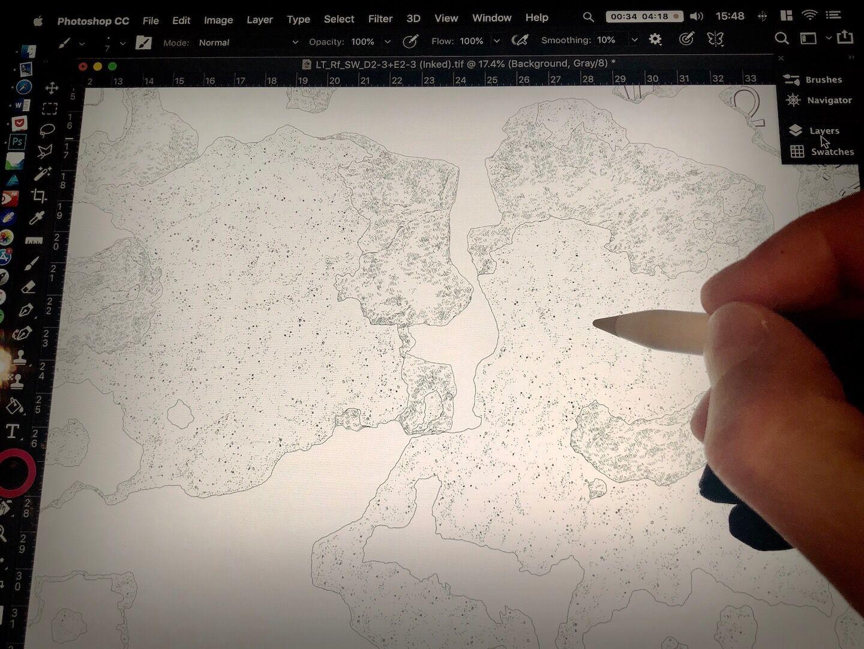 Applying digital plaster patterns when inking digitally