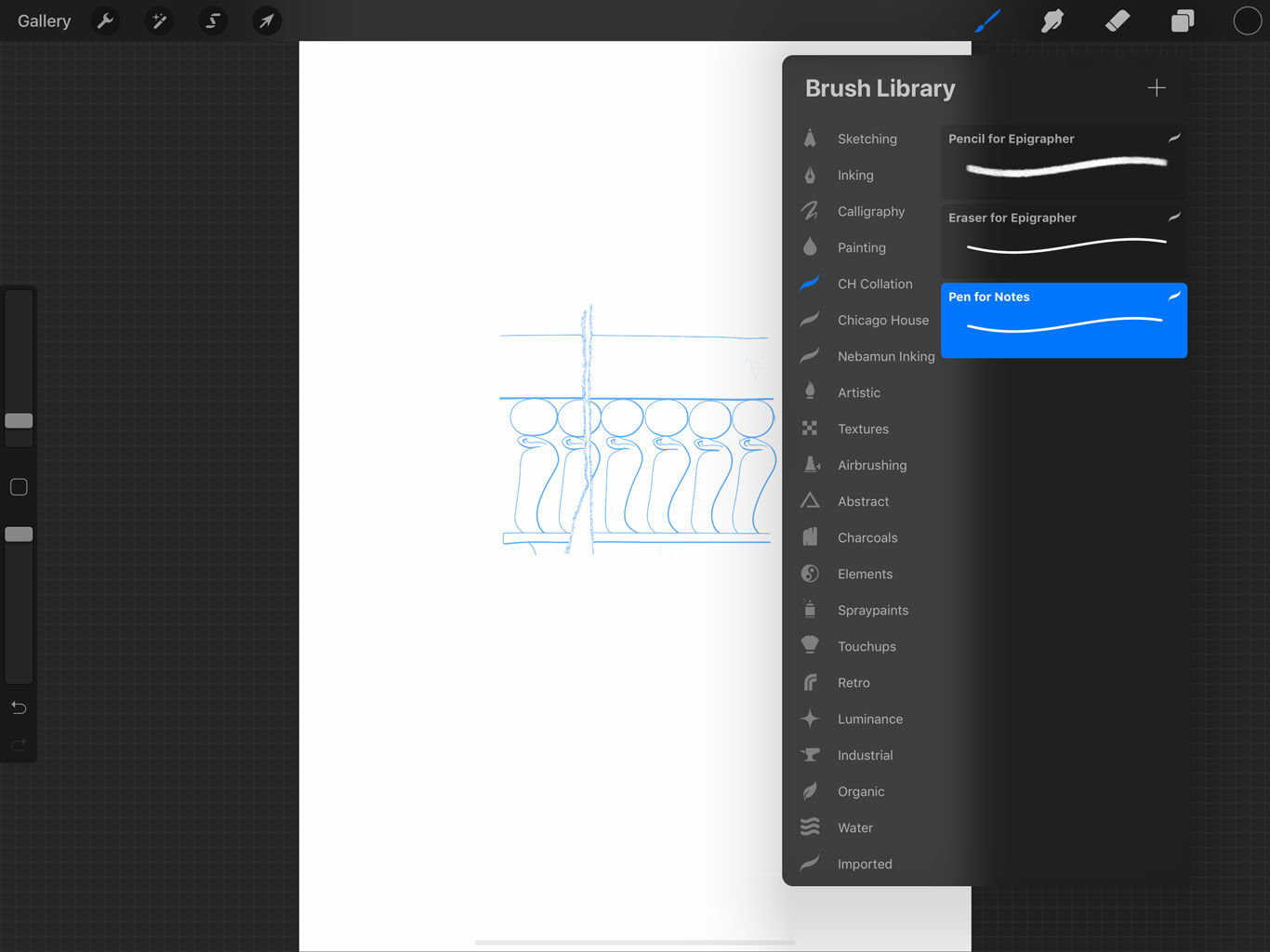 Setting up a collation sheet in Procreate