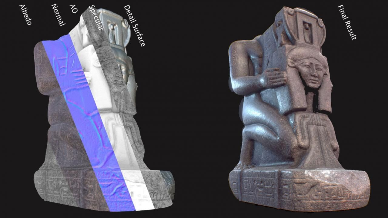 Physically based rendering (PBR) of Egyptian collection at Brooklyn Museum