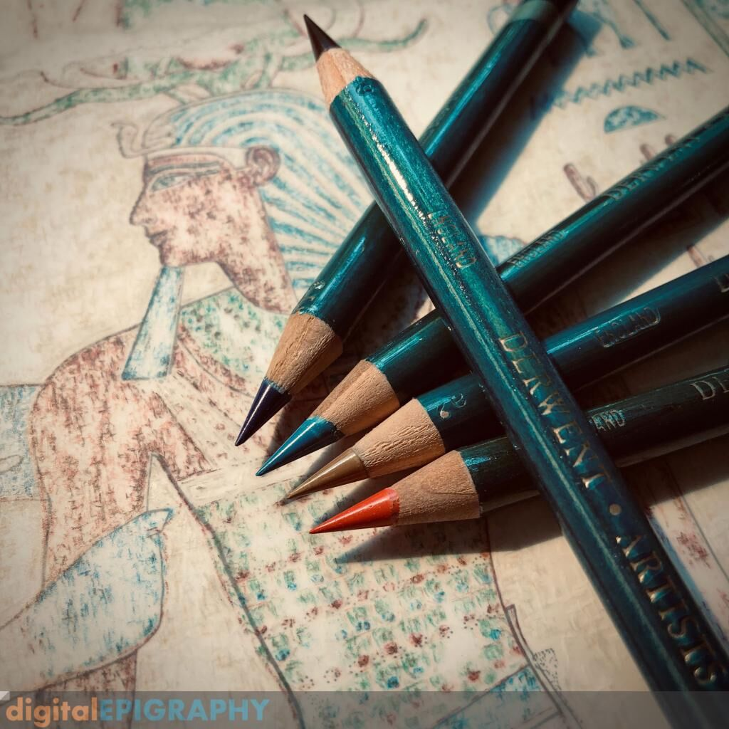 instagram-gallery/A method developed for faded pigment representation by the Epigraphic Survey involves Derwent pencils