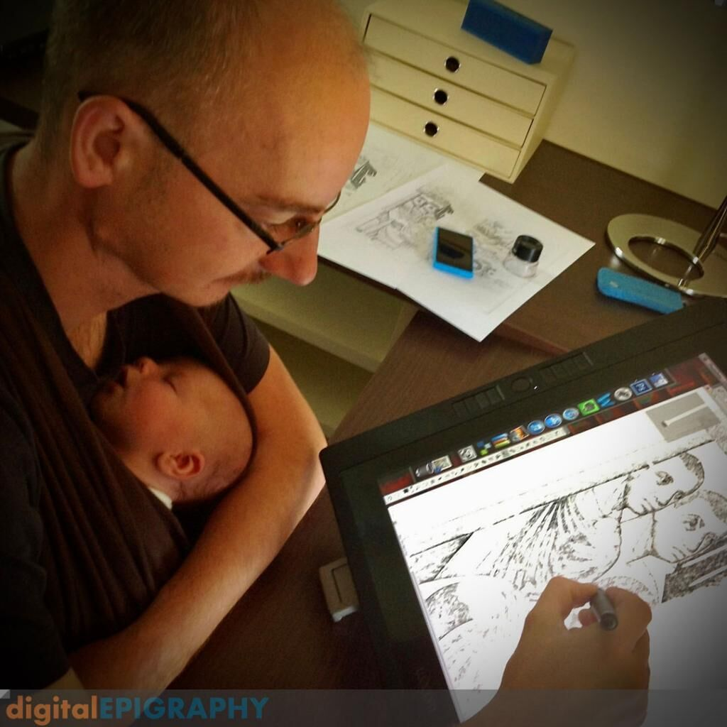 instagram-gallery/Inking the first panels of the Survey's Roman fresco drawings in the studio using a Wacom drawing display