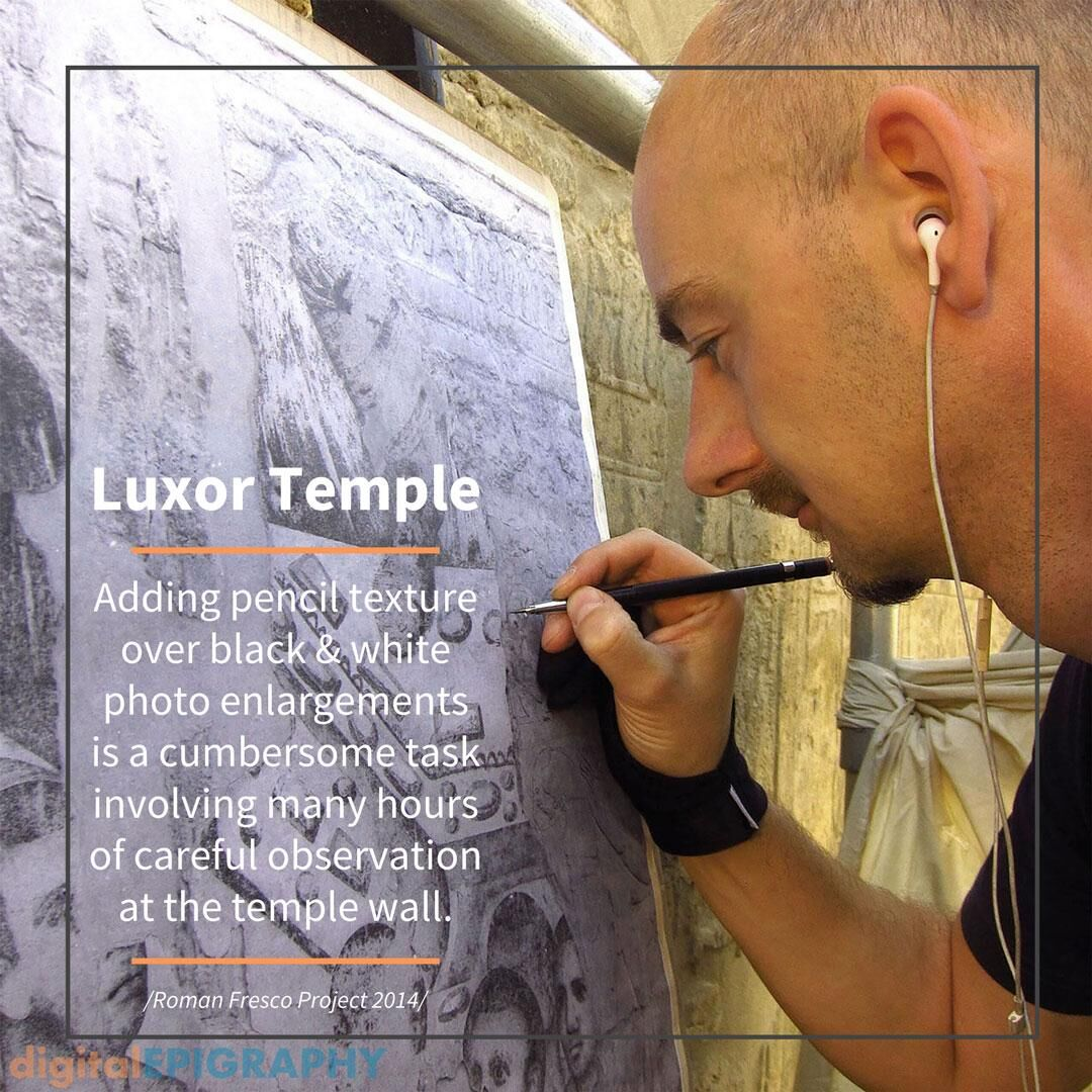 Pencil texturing on photo enlargement documenting late-Roman murals at Luxor Temple