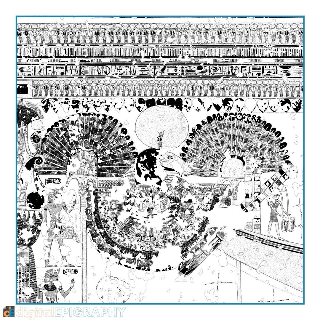 Drawing detail with the Amun bark's egis from the facsimile documentation carried out in Theban Tomb 65