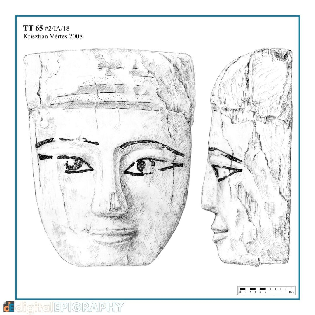 instagram-gallery/Wooden funerary mask from TT 65, represented on mylar using pencil