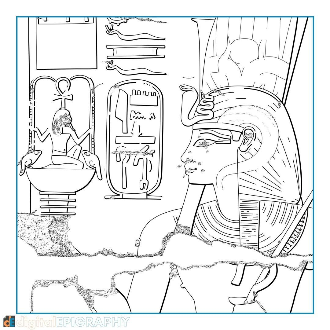 Digitally inked drawing created for testing the Survey's digital Chicago House Method at Luxor Temple