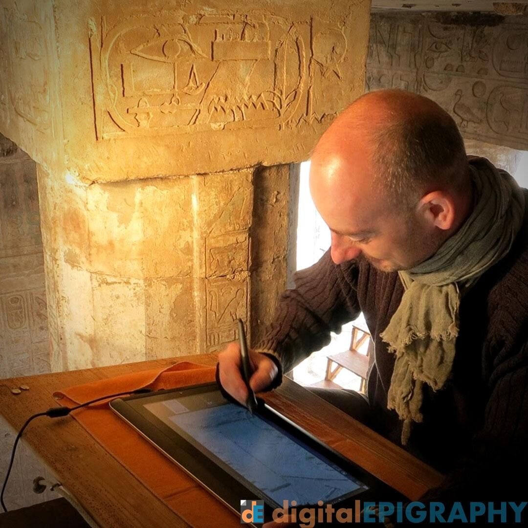 Testing out Wacom's portable digital canvas, called Companion for the first time at Medinet Habu