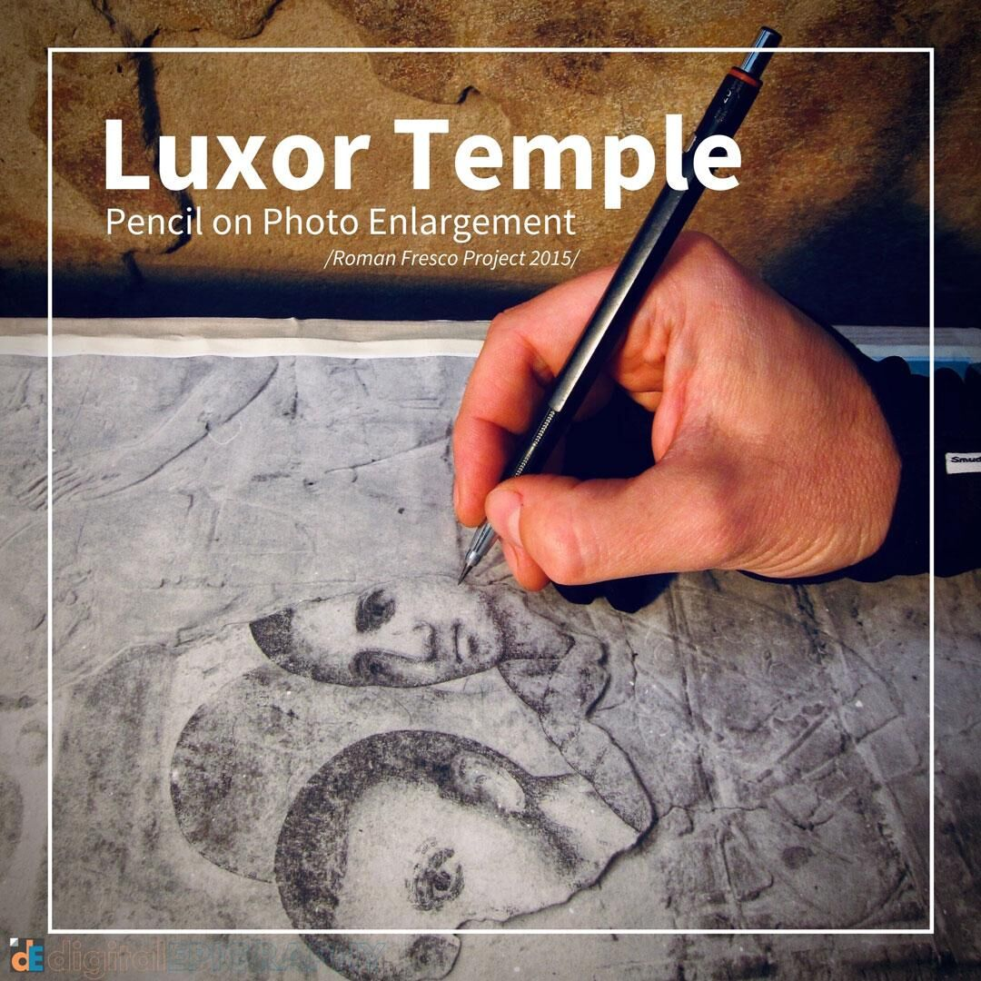 Adding pencil texture over photo enlargements at Luxor Temple working on the Late-Roman murals