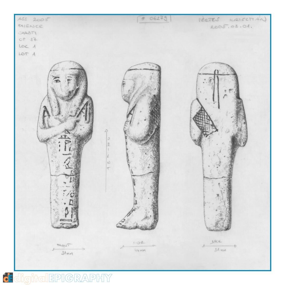 Pencil representation of a faience shabti from the mortuary complex of Senwosret III