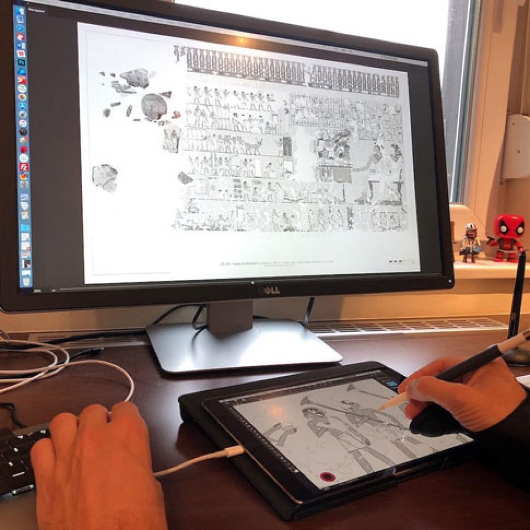 Desktop Photoshop tethered to the iPad for digital inking using Astropad Studio
