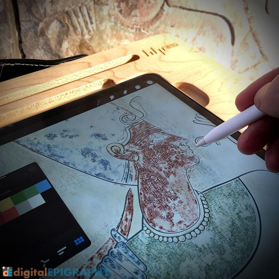Digital color penciling on the iPad in the Small Amun Temple at Medinet Habu