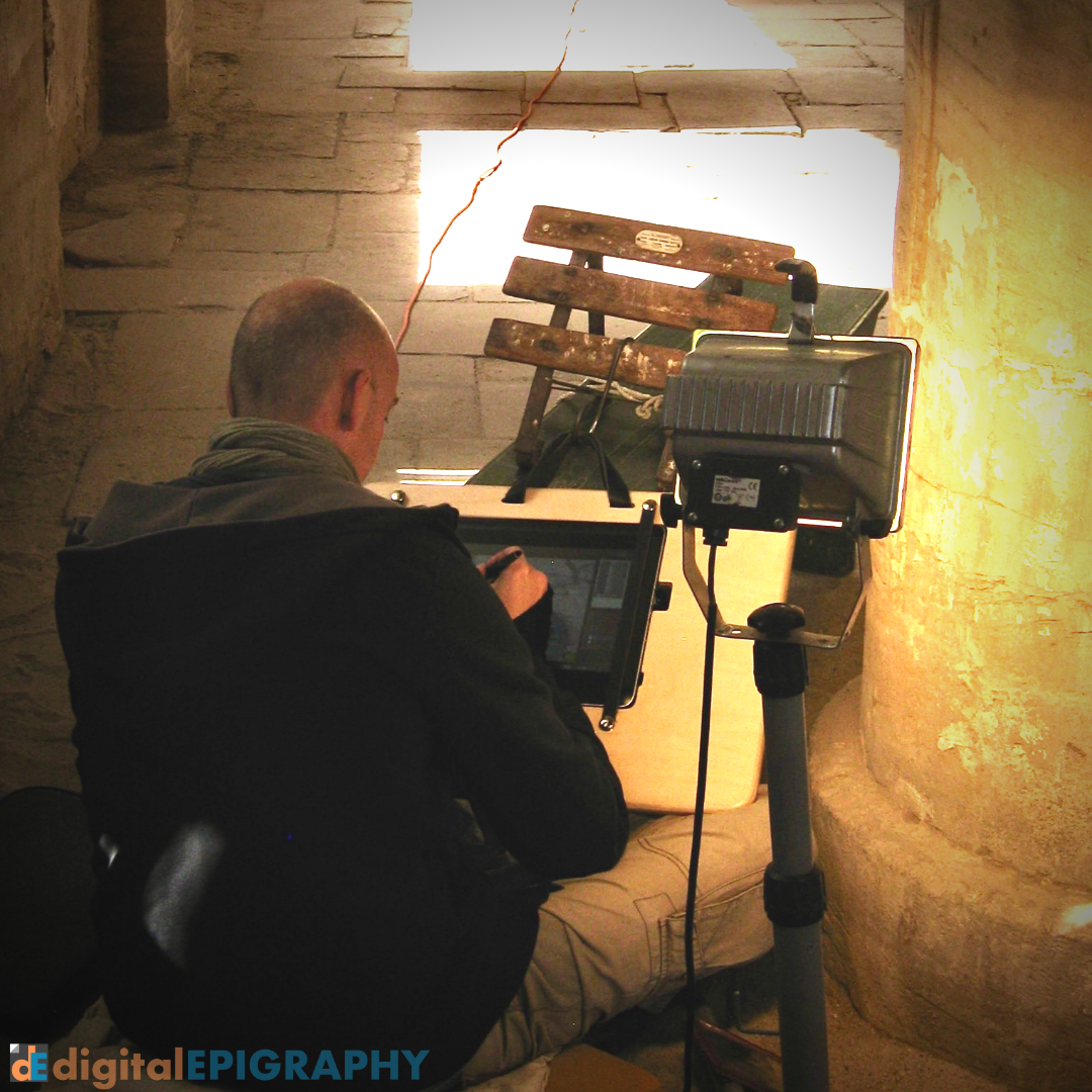 Penciling the Achoris columns on Wacom's Companion tablet PC in the Small Amun Temple at Medinet Habu