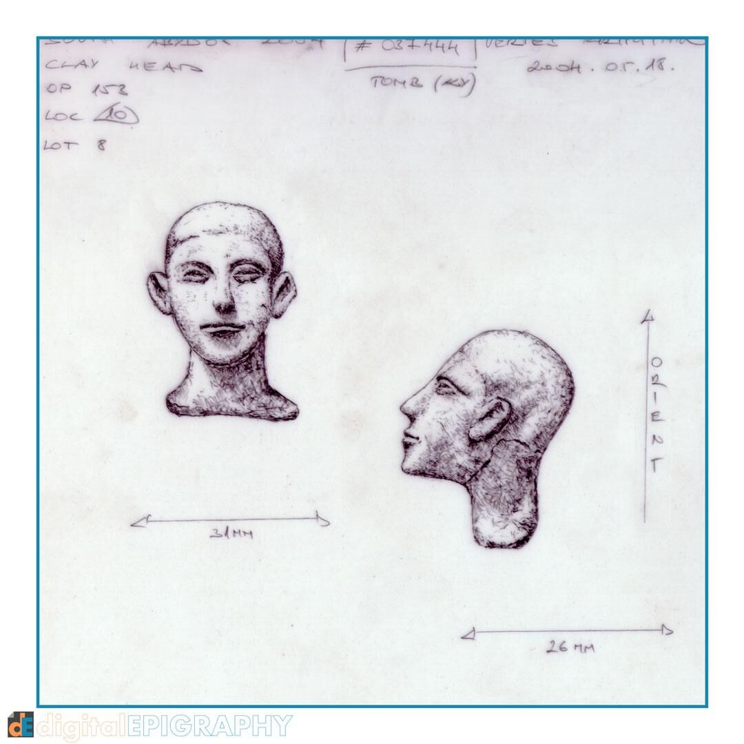 Life-size, fully modelled and shaded representation of a small clay figurine head from South Abydos