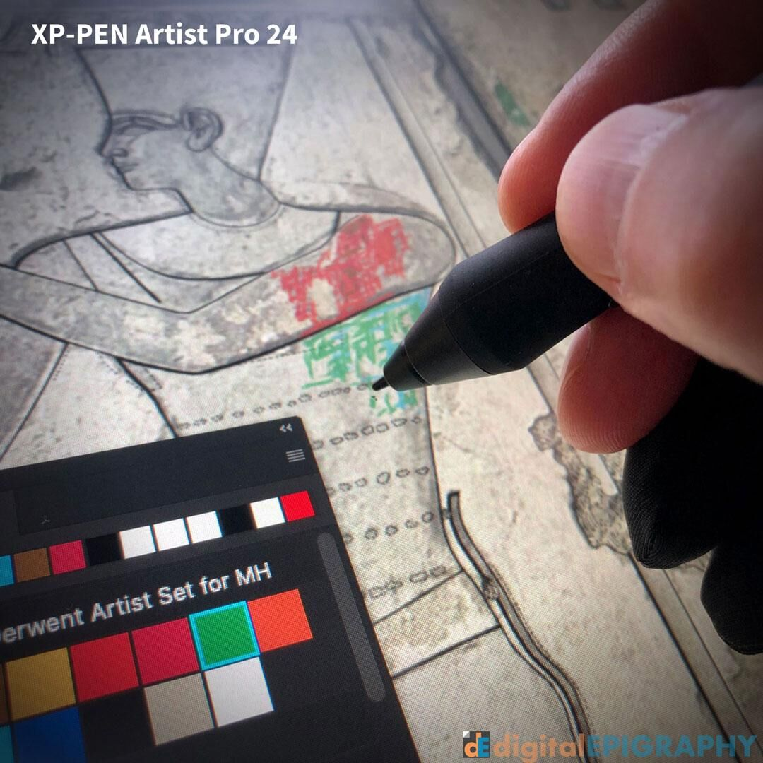 Working on a large-scale multilayered, color-enhanced epigraphic project using XP-PEN's brand new Artist Pro 24