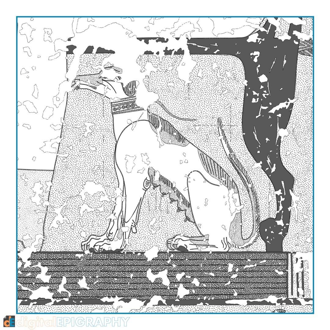Nebamun's pet dog appearing underneath his chair in TT 179, color-coded greyscale representation