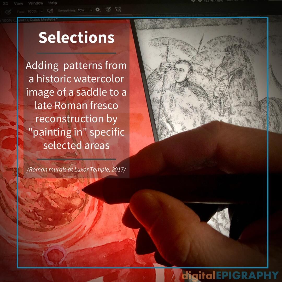 Adding specific patterns from a historic watercolor image of a saddle to the roman fresco reconstruction at Luxor temple