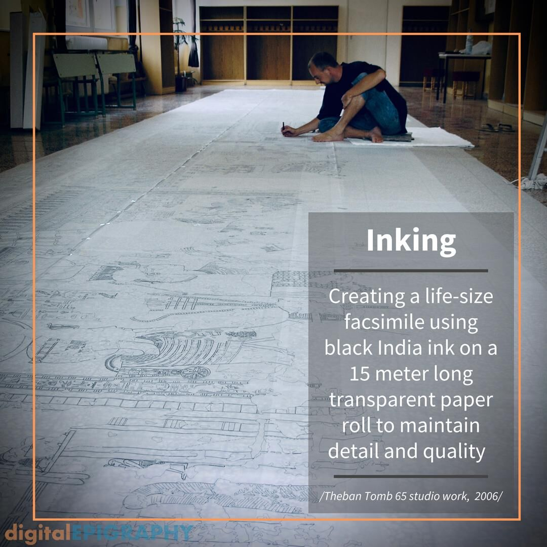 Inking a 15 meter long life-size facsimile drawing from TT 65, the Theban tomb of Imiseba