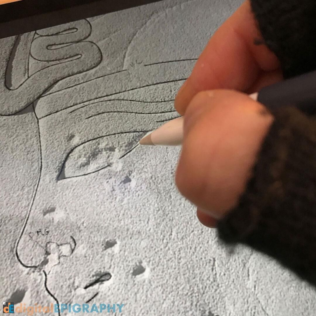 Digital penciling on the iPad Pro at Luxor Temple