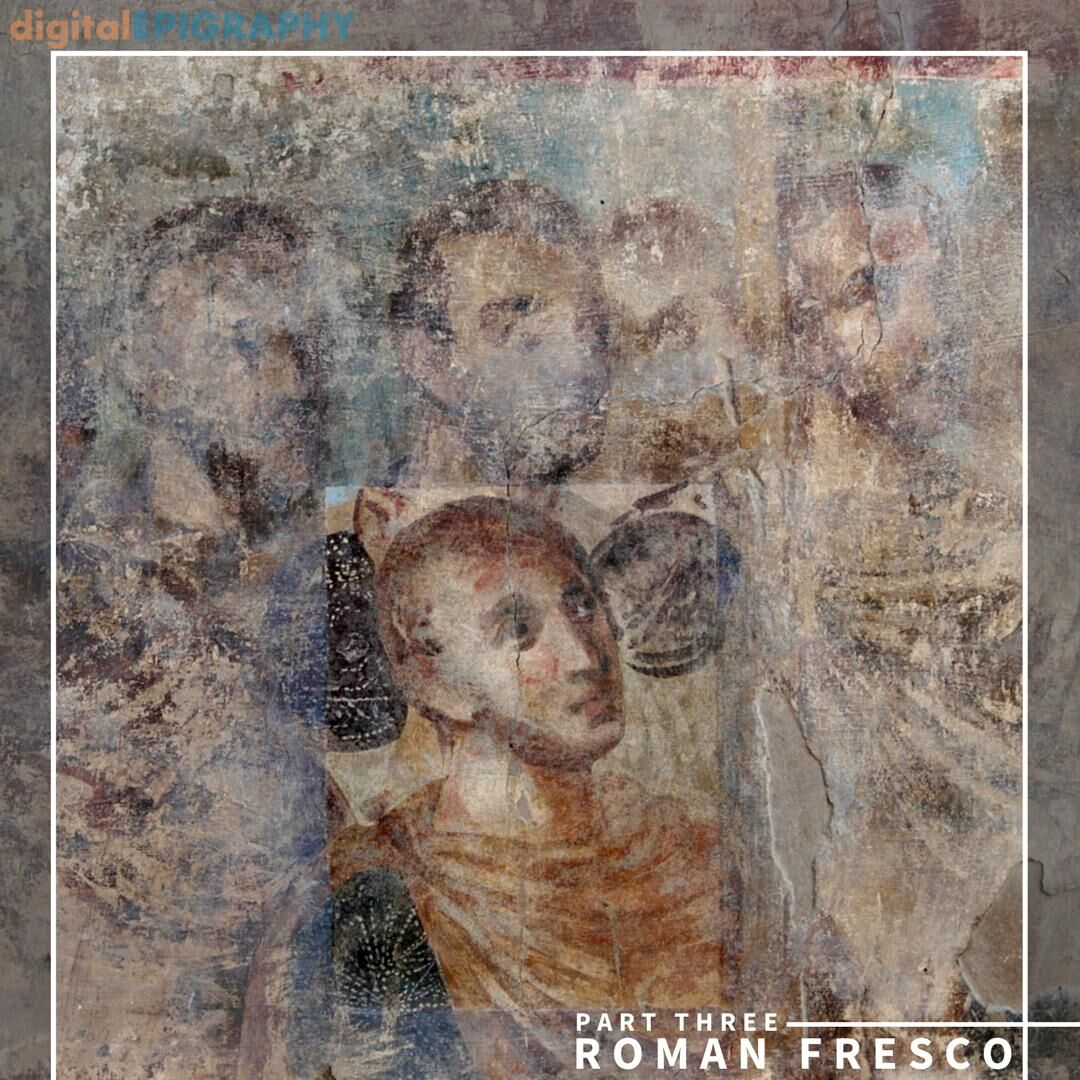 Color Film Photograph of a Test Cleaning Area on the Late-Roman Fresco Taken by Survey Photographer Yarko Kobilecky