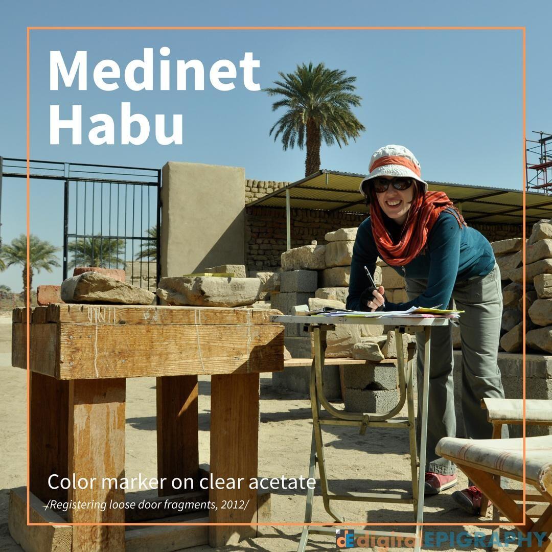 Júlia Schmied Registering Loose Door Fragments in the Medinet Habu Blockyard