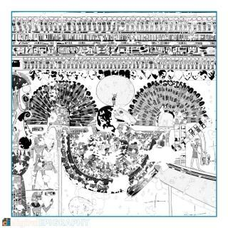 instagram-gallery/Drawing detail with the Amun bark's egis from the facsimile documentation carried out in Theban Tomb 65