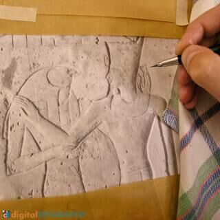instagram-gallery/Penciling on photo enlargement at Medinet Habu using the traditional Chicago House Method