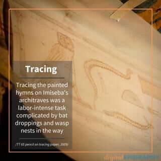instagram-gallery/Tracing painted hieroglyphs on one of the architraves in TT 65 using transparent paper sheets and graphite pencil