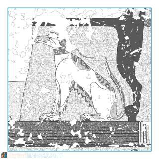 instagram-gallery/Nebamun's pet dog appearing underneath his chair in TT 179, color-coded greyscale representation