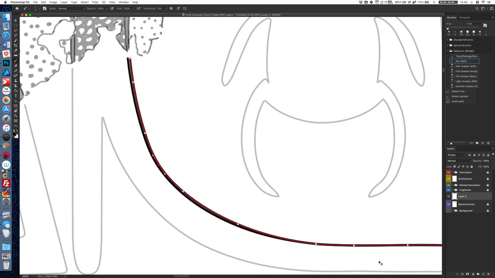 Drawing sun-shadow transitions using the Curvature Pen tool