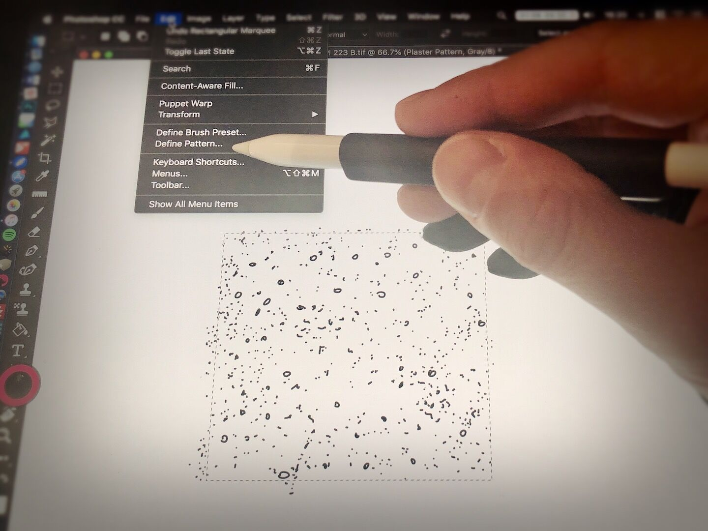 Creating custom plaster patterns for digital inking