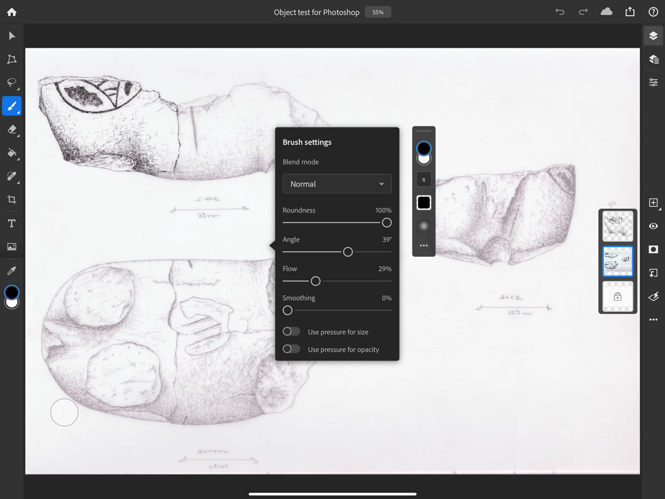 Photoshop for the iPad - brush settings