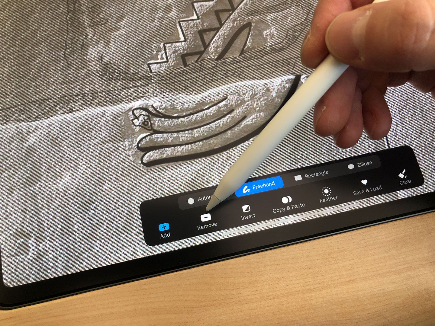 Modifying a drawing segment in Procreate