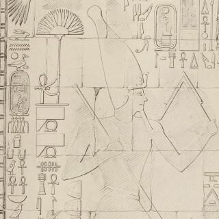 Temple of Hatshepsut at Deir el-Bahari - Wall reliefs, grayscale presentation